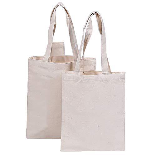 zamishen Canvas Shopping Tragetaschen, Wiederverwendbare Einkaufstüten Durable Washable Produce Bags Umweltfreundliche Shopper zum Bedrucken Dekorieren, 2 Stück