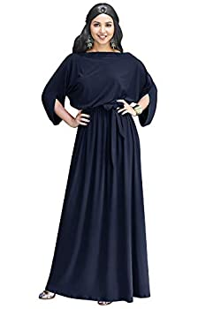 KOH KOH Plus Size Womens Long Flowy Casual Short Half Sleeve with Sleeves Fall Winter Floor Length Evening Modest A-line Formal Maternity Gown Gowns Maxi Dress Dresses Dark Navy Blue 2XL 18-20