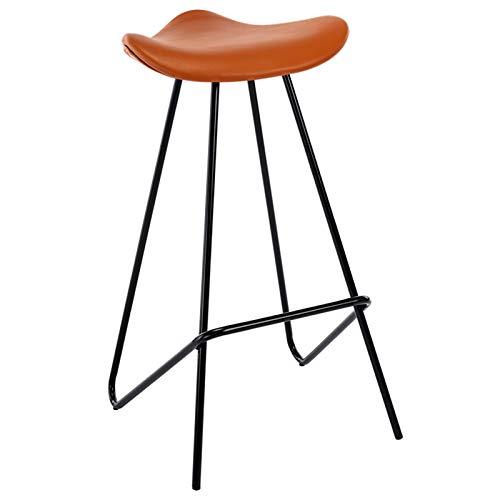 XLSQW Sedia da Pranzo Sedia da Sella Bar Bar Sedile da Cucina Iron Mobili Moderni Mobili Cuscino in Pelle Seduta 30 Pollici Tall, per Il Salone Workshop Home Office,Arancia