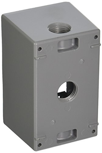1-Gang Weatherproof Box, Three 1/2 in. Threaded Outlets, Gray
