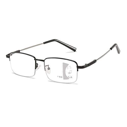 Eyedpe Gafas De Lectura Multifocales Asintóticas Anti Luz Azul para Hombres Y Mujeres, Gafas Multifocales Progresivas con Bloqueo De Luz Azul,Negro,+250