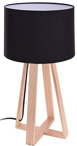 Design Tischlampe schwarz - 47x26 cm - Holz Tisch Leuchte Lampe - Nachttischlampe