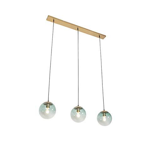 QAZQA Art Déco Lámpara colgante Art Déco latón vidrio verde 3-luces - PALLON Mezzi/Acero Alargada Adecuado para LED Max. 3 x 40 Watt