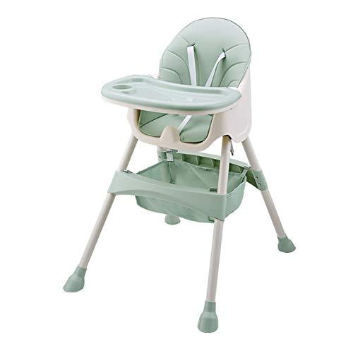 JINSUO Trona para bebé, mesa portátil para niños, silla de comedor plegable, altura regulable, silla multifunción con cojín, color verde