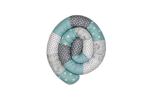 Baby Nestschlange   Made in EU   ÖkoTex 100   Schadstoffgeprüft   Antiallergisch   Baby Bettumrandung   Bettschlange   Safari Pfefferminz   300 x 13 cm   ULLENBOOM ®