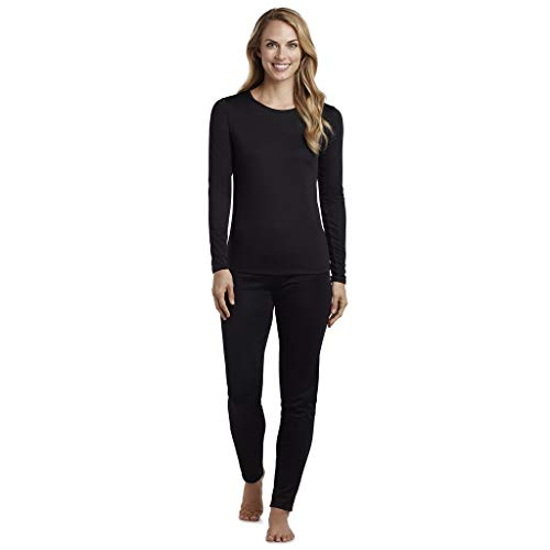 Women's Active Base Layer Thermal Underwear Top and Bottom Set Black M
