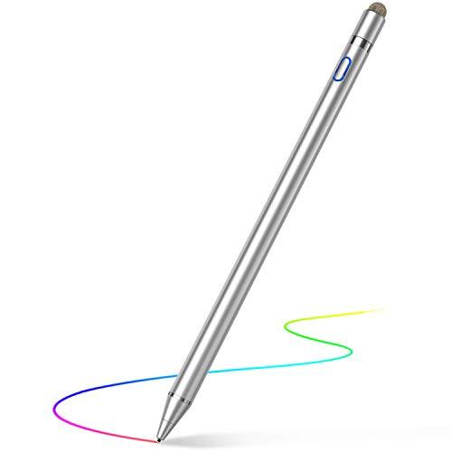 【2020年最新版】 タッチペン 極細 スタイラスペン iPad/iPhone/Android 導電繊維ペン先 1.4mm銅製ペン先 高感度 ツムツム USB充電式 スマートフォン タブレット対応 (シルバー)