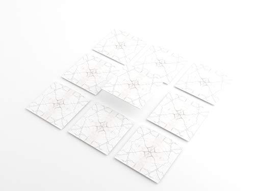 Tink Pegatinas de PVC | Adhesivo para azulejos de cocina, baño, superficies de madera y escaleras (20 x 20 cm, 6 unidades, mármol blanco)