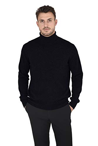 Cashmeren Men's Essential Knit Turtleneck Sweater Cashmere Wool Long Sleeve Roll Neck Pullover (Black, Large)