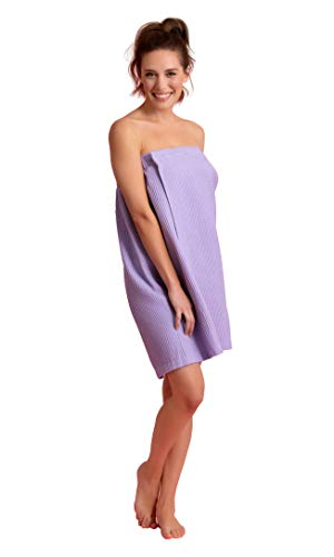 Premium Turkish Cotton Women's Lightweight Knee Length Spa/Bath Waffle Body Wrap with Adjustable Hook-and-Loop Tape (Lavender)
