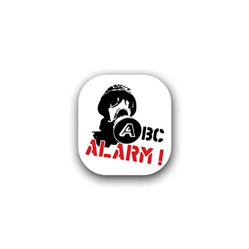 Aufkleber/Sticker ABC Alarm Schutzmaske biologisch chemische Stoffe 6x7cm A1716