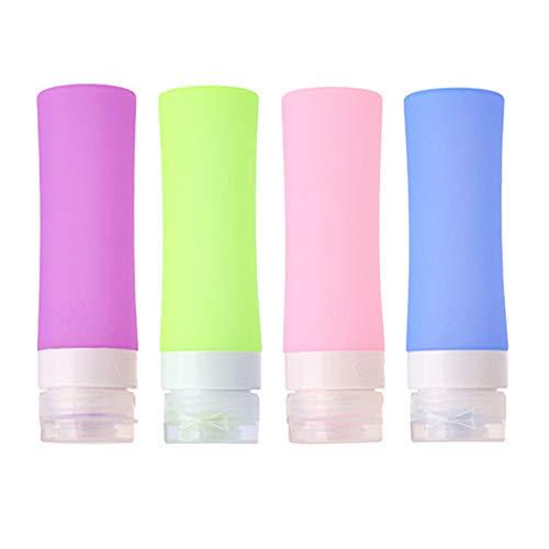 Puve Vie® Pack de 4 Bouteille de Voyage en Silicone - Set de 4 (3.2 Oz/ 90ml) - Squeezable & Contenants Réutilisables pour le Shampooing, Revitalisant, Lotion, Toilette