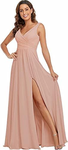 Blush Hot Pink Bridesmaid Dresses, V Neck Split Bridesmaid Dresses Long Chiffon for Women Wedding Formal Dress