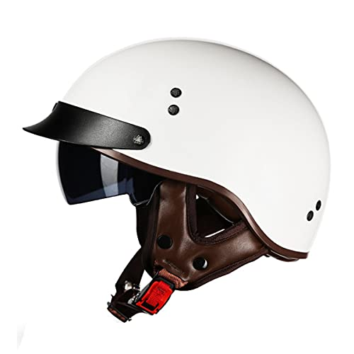 HOMFLOW Motorcycle Half Helmet Open Face Jet Helmet Vintage Motorcycle Moped Scooter Motorbike Crash Helmet with Sun Visor for Men & Women ECE/DOT Certification (Color : N, Size : Large 59-60cm)