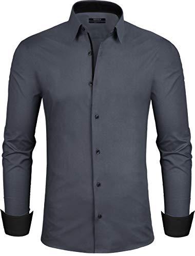 Grin&Bear Design Herren Hemd, dunkelgrau, 98, Slim, L, SH335