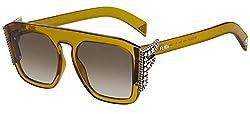 Yellow (HA Brown Gradient) Sunglasses with Rhinestones