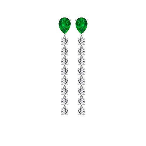 Drop Dangle Earrings, Pear Shape Earring, Emerald Diffused Earring, Moissanite Drop Earring, 3 CT Gemstone Earrings, Vintage Earring, Wedding Earrings, 14K Yellow Gold, Pair