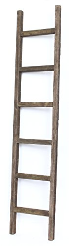 BarnwoodUSA Rustic Farmhouse Decorative Ladder - Our 6 ft Ladder can be Mounted Horizontally or Vertically and is Crafted from 100% Recycled and Reclaimed Wood | No Assembly Required | Brown