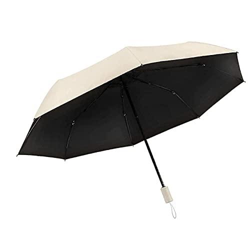 WANLIAN El nuevo paraguas plegable de tres pliegues, protector solar de titanio plateado paraguas, protección UV, paraguas de viaje, paraguas portátil pequeño