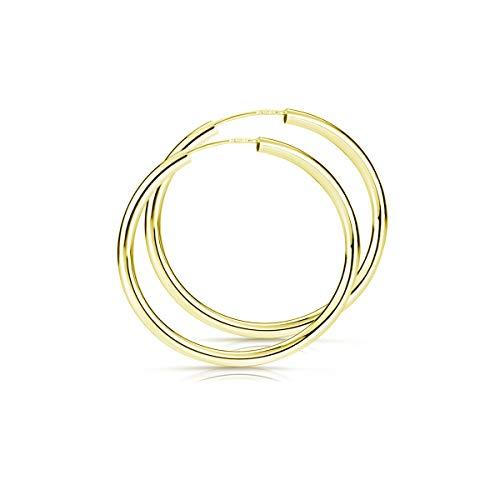 Materia Gold Ohrringe Creolen Damen 40mm aus 925 Silber vergoldet nickelfrei dünn zart leicht SO-113