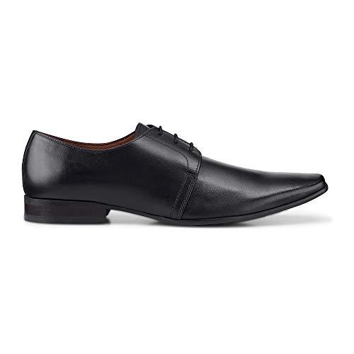 Belmondo Herren Derby-Schnürschuh aus Leder, eleganter Business-Schuh in Schwarz Schwarz Glattleder 43