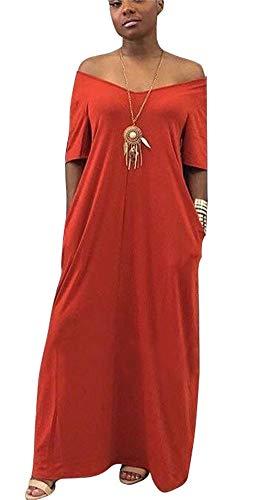 Women's V Neck Off Shoulder Short Sleeve Loose T Shirt Maxi Dress with Pocket