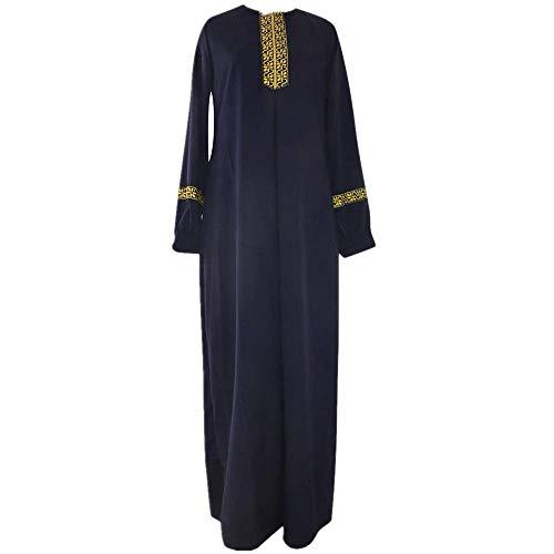 Muslim Kleidung Damen Große Größen Chiffon O-Ansatz Laterne Ärmel Stickerei Muslimische Kleider Islamische Abaya Mode Frauen Hochzeit Kleid Tunika Lang Kleider Kleidung Knöchellang Kleid Cocktailkleid