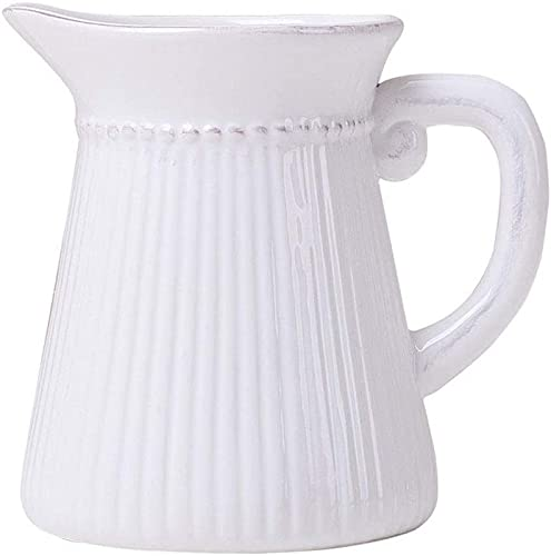 QHCS Florero de cerámica Florero para decoración Mini jarrón de cerámica con asa, Jarra de Leche Blanca, arreglo Floral Familiar, Obra de Arte Adecuada para colección Altura 15 cm (5,9 Pulgadas)
