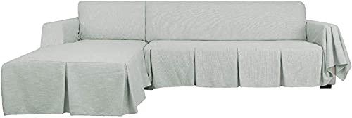 TYXL Sofabezüge, Schnittsofabezug L-förmiger Sofabezug 2-teiliger Sofabezug aus Polyester-Leinen, Couchschutz (2-Sitzer rechts, grau)
