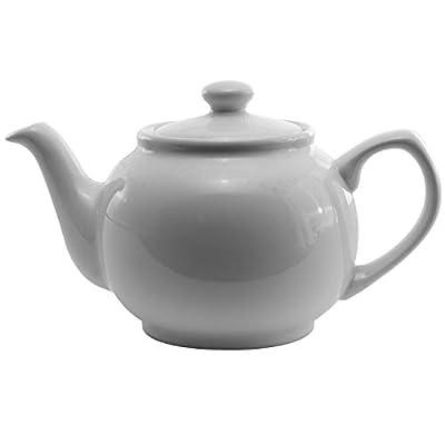 Service Ideas TPCE16WH Teapot, Ceramic, 16 oz, English Style, White