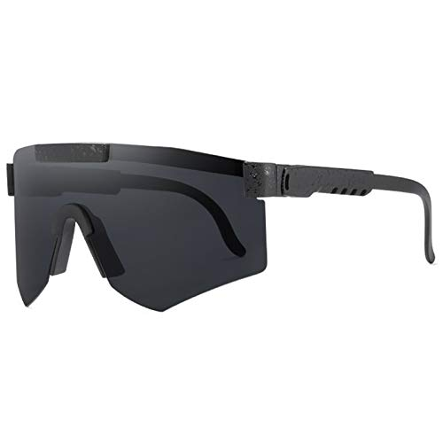 ZHMIAO Gafas de Ciclismo polarizadas para Hombre, Gafas de Sol Gafas de Gafas de Hombre Gafas de Deportes de Moda Sombrilla de Espejo Protección al Viento a Prueba de vient Black