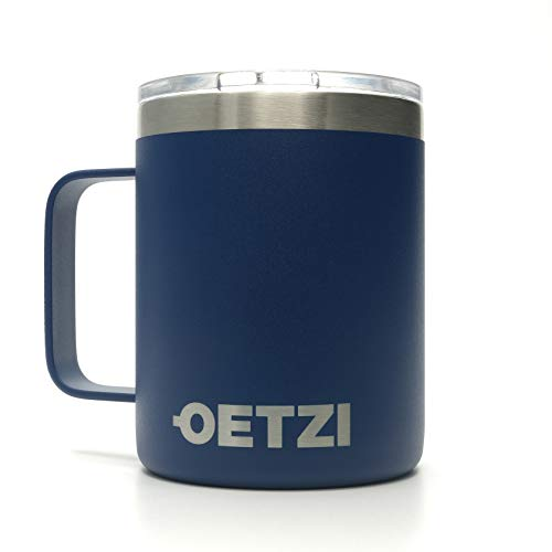 OETZI Henkel 340, Edelstahl Thermobecher 340 ml, Isolierbecher, Trinkbecher, Kaffeetasse, Deckel mit Trinköffnung (Blau)