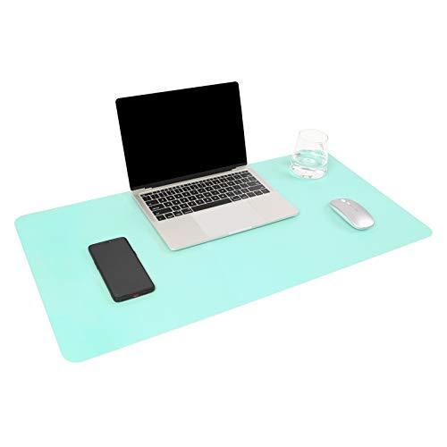YSAGI Multifunktionale Schreibtischunterlage, ultradünn, wasserdicht, PU-Leder, Mauspad, zweiseitig nutzbar, für Büro/Zuhause, Himmelblau + Mintgrün, 80 * 40 cm