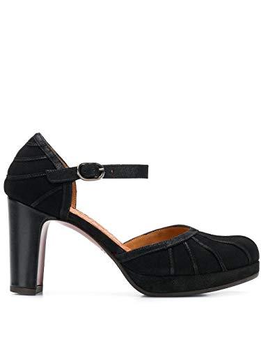 Chie Mihara Zapato tacón Negros CAPIN con Plataforma 2 cm y Pulsera al Tobillo.