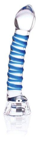 Don Wand Real Tip LED Glass Pleasure Wand, Blue Swirl