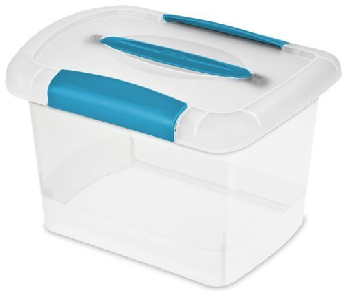 Sterilite 18728606 Small Nesting ShowOffs, Clear with Blue Aquarium Handle and Latches