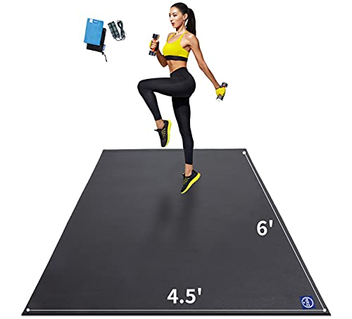 Premium Large Exercise Mat 6'x4.5'x7mm, Ultra Durable Workout Mats for Home Gym Flooring, Non-Slip, Thick Cardio Mat for Plyo, MMA, Jump, Weightlifting- Shoe Friendly, Eco Friendly (Black)