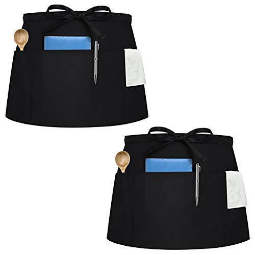 Syntus 2 Pack 3 Pockets Waterdrop Resistant Waitress Waist Apron 115-inch Black