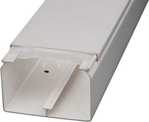 CabCom PVC Kabelkanal Kabelleiste Kabelschacht Brüstungskanal zur Montage an Wand oder Decke diverse Größen und Farben 2 Meter 90 x 60 mm weiß