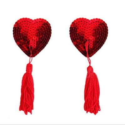 TONGDAUR 1 Paar Frauen-Wäsche-Brust-Büstenhalter Sexy Herzform Sequin Quaste Nipple Pasties Aufkleber Aufkleber (Color : Rot, Size : Kostenlos)