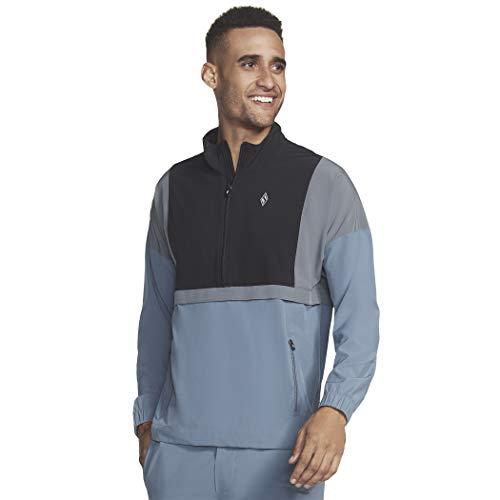 Skechers Men's Go Walk Skechweave Action Packable Anorak 1/4 Zip Jacket, Smoke Blue, L