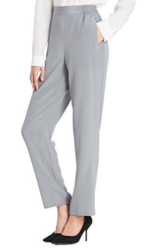 LilySilk Seidenhose Pants Lang Damen aus 18 Momme Seide Grau M Verpackung MEHRWEG