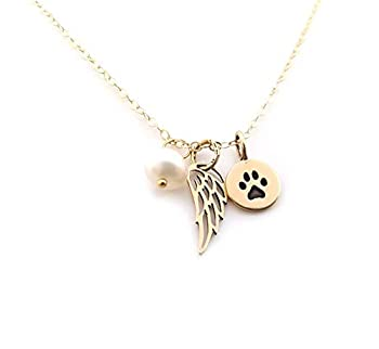 Paw Print Angel Wing Necklace - 14k Gold Filled - Dog Memorial Jewelry - Pet Loss Sympathy Gift
