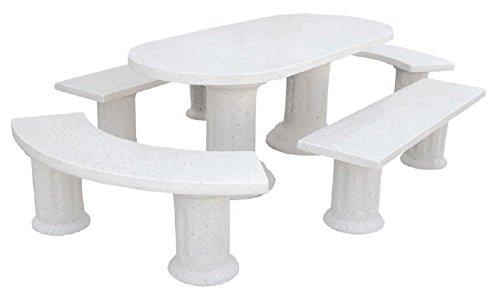 AnaParra Conjunto DE Mesa EN Piedra Oval Pulida 194cm. Mod.Alba