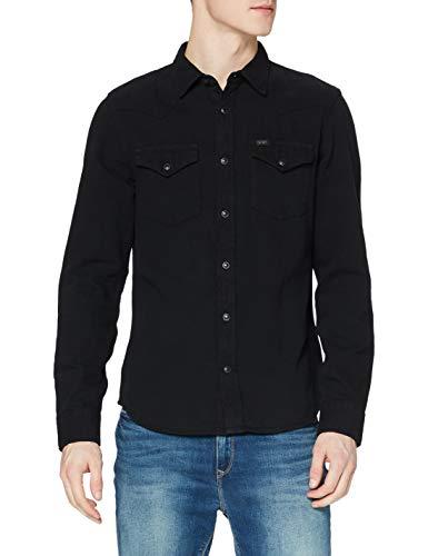 Lee Herren Western Shirt Freizeithemd, Schwarz (Black Black 01), M