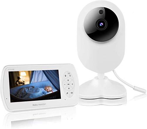 PREUP Vigilabebés con Cámara 1080P Monitor de Video Inalámbrico con Pantalla de 4.3 pulgadas,Charla Bidireccional VOX,Sensor de Temperatura,Despertador Automático & Canciones de Cuna