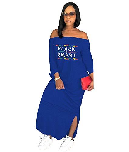 ECHOINE Womens Casual Maxi Dress - Loose African Letter Print Off Shoulder T Shirt Dress Navy Blue