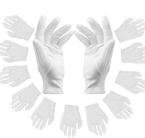 Weiße Handschuhe aus Baumwolle,12 Paar weiche Baumwollhandschuhe,Stoff Handschuhe Weiss,Bequem und Atmungsaktiv, dehnbares Innenfutter Handschuh, für Münzschmuck Silber Inspektionshandschuhe