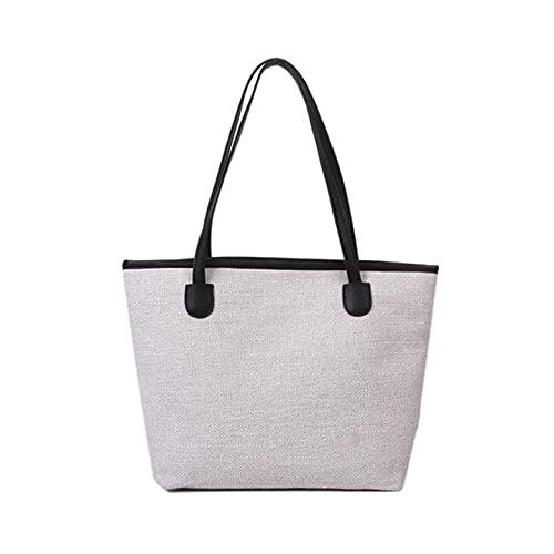 MAJFK Bolso de mano de lona para mujer, de gran capacidad, casual, con asa de mensajero, bolsa de hombro, bolsa de ocio, bolsa cruzada, color negro y blanco