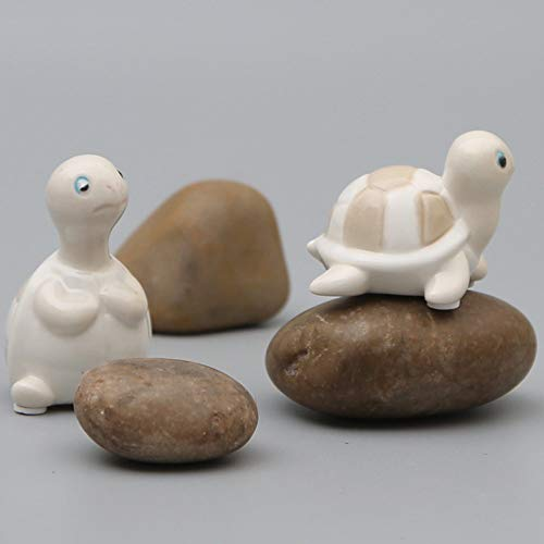 LIAOLEI10Estatua Mini Lindos Adornos de Tortuga de cerámica Creativo de cerámica de Dibujos Animados Modelo de Tortuga Manualidades Muebles para el hogar pecera decoración Regalos